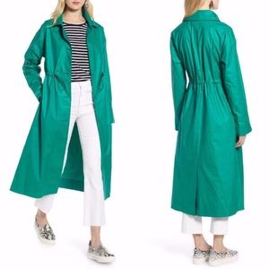 HALOGEN Emerald GREEN Elongated RAIN OVERCOAT L